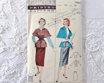 Vintage Butterick Blouse, Skirt and Cape Stole Pattern 7483 Size 14 1950s