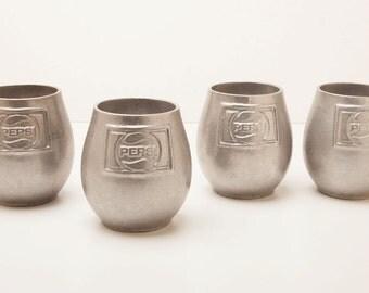 PEPSI MUGS - Rare Set Of 4 Metal Mugs - Vintage 1970's - Unique Shape