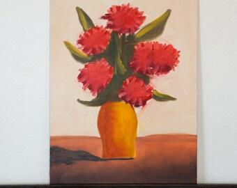 Bizarre Floral Arrangement - As Strange  As They Get  - Original 1960's Oil Painting