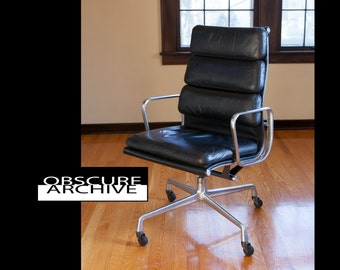HERMAN MILLER Black Leather Soft Pad High Back Executive Chair - Rare Early Version  - Mad Men Office