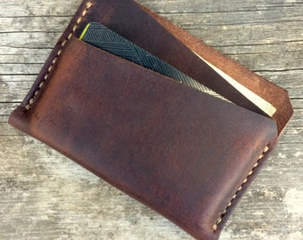 Leather wallet, This minimalist wallet is great for men or women, Slim, stylish, Made in the USA, Brown full grain leather