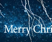 Merry Christmas -Facebook Timeline Cover With Holiday Greetings For Your Personal Page -Winter Tree Branches In Snow Storm -Instant Download