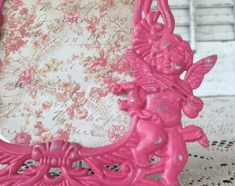 Ornate Pink Cherub Picture Frame - 3 1/2 x 5 Pewter Easel Back Table Top - Victorian Frame