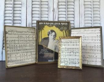 Vintage Metal Picture Frames - Gold Vintage Table Top Frames - Set of 6 - 8x10 5x7