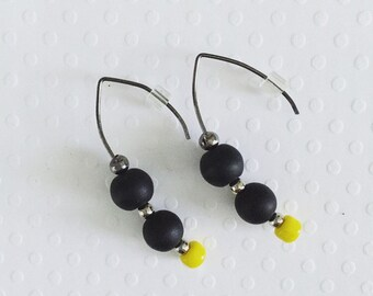 Neon Yellow Earrings, Drop Earrings, Dangle Earrings, Black and Yellow Earrings, Modern Earrings, Unique Earrings