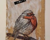 Winter Robin collage Ink and Acrylic on Vintage Map paper