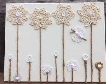 Doily's and buttons little garden
