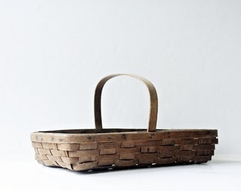 Antique Split Oak Gathering Basket - Storage Organizer, Garden Basket, Farmers Market Tote Outdoor Picnic Basket Tray Rustic Farmhouse Decor