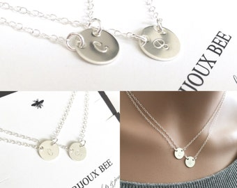 Simple Layered Sterling Silver Double Initial Necklace....Mother, Daughter, Sister, Best Friend
