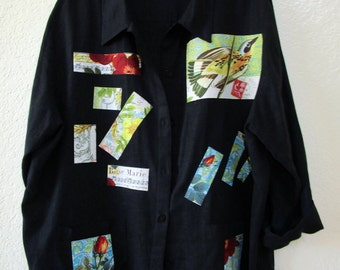 Upcycled Shirt Jacket Artsy Top SZ 2X 3X Linen