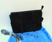 SALE Vintage Black Suede Leather Purse Designer Violetta With Satin Purse Bag NOSWT