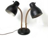 Vintage Mid Century Double Gooseneck Table Lamp Mat Black