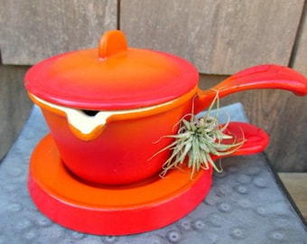 Vintage Cast Iron Covered Warmer and Trivet Made in Belgium Orange Enamel Cast Iron