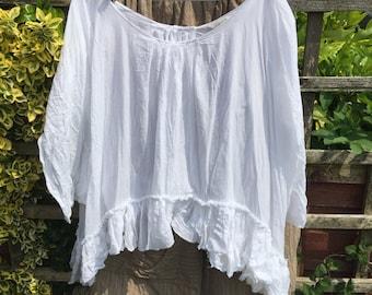 OSFA Authentic RitaNoTiara Silk Voile Midwest prairie Artist Shirt Boho Artsy Gypsy snow white  Pearl artisan Lagenlook Layering asymmetric
