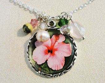 Antique Silver Framed Hibiscus Drop Necklace with Semi Precious Beads and Crystals.