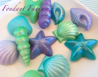Fondant Iridescent Sea Shells