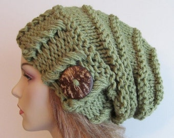 SALE Slouchy Beanie Slouch Hats Oversized Baggy Beret Button womens fall winter accessory Green Super Chunky Hand Made Knit