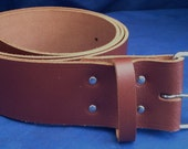 "Light Brown Leather Belt 2"" Wide (50mm) with Choice of Buckle and Sizes Handmade Real Leather"