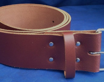 """Light Brown Leather Belt 2"""" Wide (50mm) with Choice of Buckle and Sizes Handmade Real Leather"""