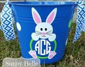 Personalized Easter Bucket; Chevron bunny; monogrammed Easter bucket