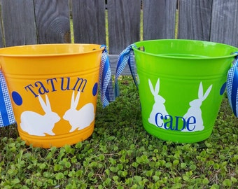 Personalized Easter Bucket; Easter Bunnies