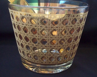 Vintage Ice Bucket Ice Tub Culver Cannella 22K Gold with Gold Tongs 1950s Glass Ice Tub