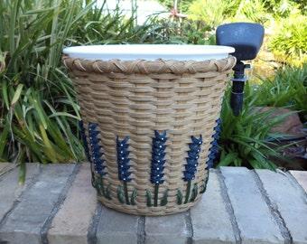 Texas Bluebonnet Small Trash Basket Bluebonnet Waste Basket Texas Bluebonnets Kitchen Basket Bathroom Basket Handwoven Basket