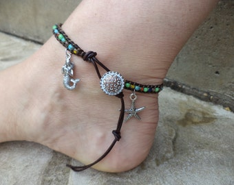 Mermaid Starfish Sea Star Colorful Bohemian Leather Anklet Leather Jewelry Beach Boho Mermaid Jewelry Starfish Jewelry Beach Anklet