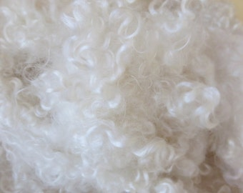 Teeswater, Fleece, Washed, Undyed, White, 2 Ounces, Natural, Fiber, Wool, Spin, Felt, White Clouds