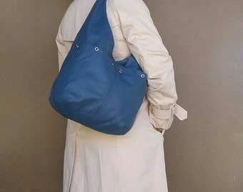 Women's Leather Purse - Slouchy Hobo Bag - Casual Blue Shoulder Handbag kiara
