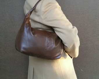Brown leather slouchy hobo purse - everyday handbag - handmade bags rosses