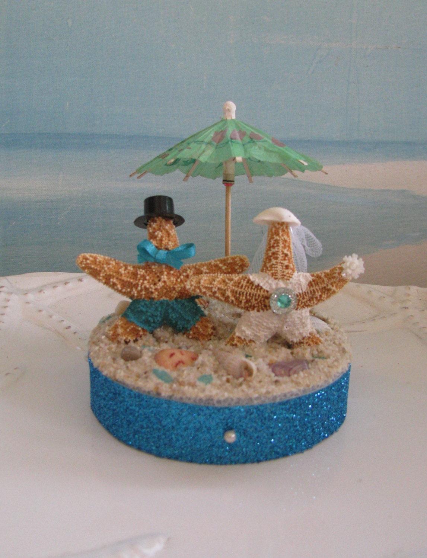 Starfish Bride and Groom on a Beach Wedding Cake TopperSand