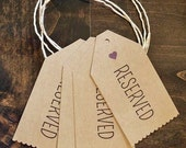 Simple Reserved seat tags for wedding ceremony with heart, color of your choice - rustic wedding theme - set of 4