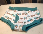 Tractors and trailers organic boys briefs, farm equipment toddler underwear. Sizes 1T through 10, teal or brown trim.