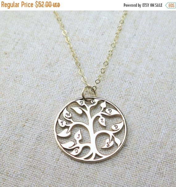 SALE Gift for Grandma Nana Family Tree of Life Necklace Personalized Hand Stamped Gift for Mom Gift for Grandma Hand Stamped Gold Necklace,