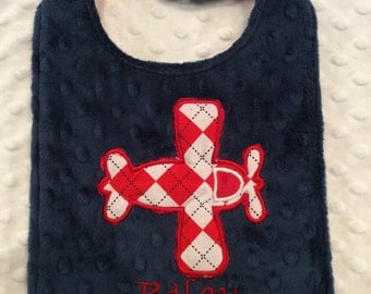 Navy and Red Airplane Bib/airplane/airplane bib/navy minky bib/boys bib/argyle/argyle bib/baby shower gift/newborn bib