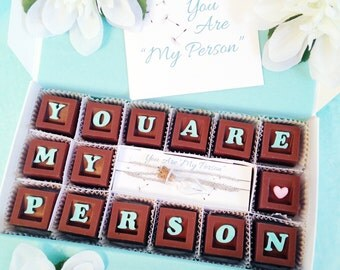 You Are My Person Dandelion Necklace - Best Friend Necklace and Chocolates