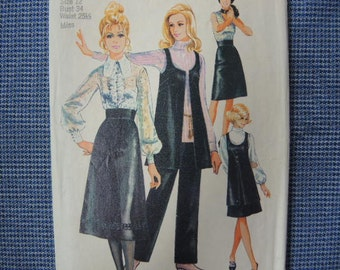 vintage 1970s Simplicity sewing pattern 9065 misses skirt in two lengths vest and pants size 12