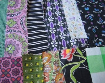 vintage 40 fabric scraps grab bag lot quilting 5G