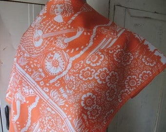 Vintage 1970s acetate scarf orange and white  25 x 26 inches