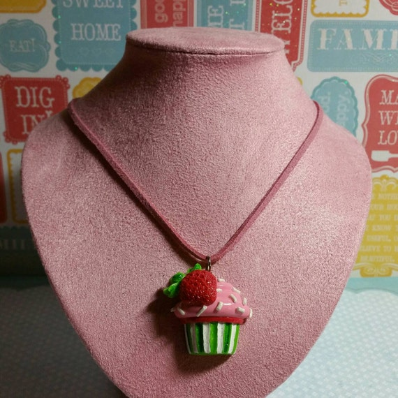 Strawberry shortcake cupcake necklace for Strawberry shortcake necklace jewelry