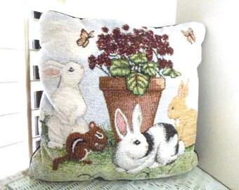 "Outdoor Pillow, Garden Patio Pillow, 16"" Square, Vintage Pillow, Decorator Fabric"