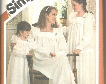 Simplicity 5179 vintage uncut all sizes includes womans and girls nightgown