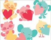 Valentine Clipart Animal's Holding Hearts -Personal and Limited Commercial Use- Fox, Panda, Puppy, Chick, Hearts, Valentines