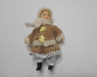 Vintage Porcelain Doll--Sparkly Winter Clothing (16-A)