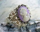 Purple White Cameo Bracelet, Purple and White, Cameo Jewelry, Metal Filigree Cuff Bracelet, Shinny Silver Cuff, Rhinestone, Gift for Her