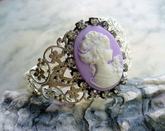 Purple White Cameo Bracelet, Purple and White, Cameo Jewelry, Metal Filigree Cuff Bracelet, Shinny Silver Cuff, Rhinestone, Gift for Her