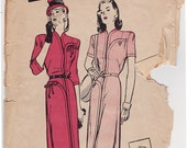 "FF 40s Misses' Casual Dress w/ Smart Pockets Vintage Sewing Pattern - Butterick 3510 - Size 16, Bust 34"" UNCUT"