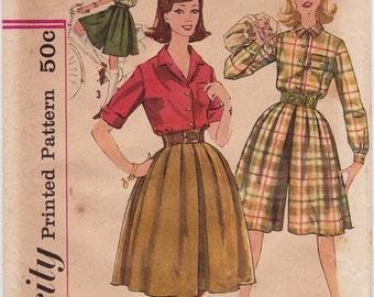 "FF 1960s Misses' Culottes & Blouse Vintage sewing pattern - Simplicity 3637 - Size 16, Bust 36"", UNCUT"
