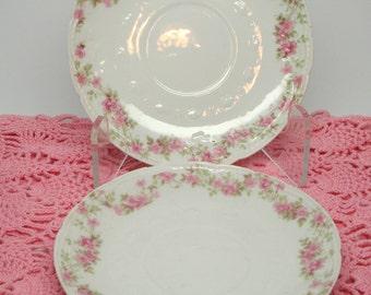 Vintage Haviland Limoges GDA France Pink Rose Pattern Saucers Dessert Plates Set of 3 Vintage Wedding
